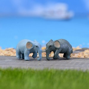 Wholesale 2Pcs Mini Elephant Animal Miniature Figurines Mini Landscape Fairy Garden Decoration Doll House Terrarium Decor Ornament Toys