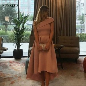 Wholesale One shoulder High Low Party Dress Short Front Long Back Prom Gowns Elegant Simple Girls Formal Wear For Party