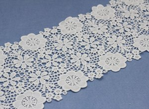 Wholesale Delicate Women Dress Bridal cm Width Floral Lace Trimming Embroidered Trim Ribbon Wedding Sewing Edging Milk Water Soluble Lace Fabric