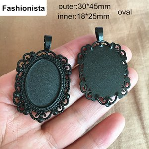 Wholesale 30 Oval Photo Pendant Tray Black Metal Alloy Cabochon Base Settings mm inner mm Filigree Cameo Base Blanks Jewelry Supplies