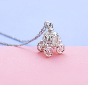 New s925 silver fashion Korean dream pumpkin car pendant lock bone chain Cinderella fine necklace series