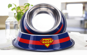 Travel Pet Cat Stainless Steel Bowls for Dogs Super man Pattern Dog Bowls Outdoor Drinking Water Fountain Pet Dog Dish Feeder Supplier