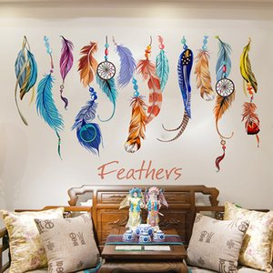 Wholesale Home Decoration Wall Stickers Bedroom Sofa Background Mural Painting Removable Colored Feathers Walls Decorations PVC Creative New 3 6fj