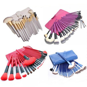 Wholesale 24Pcs red blue purple silver colorfull Makeup Brush Sets Professional Cosmetics Brushes Set Kit Pouch Bag Case Woman Make Up Tools