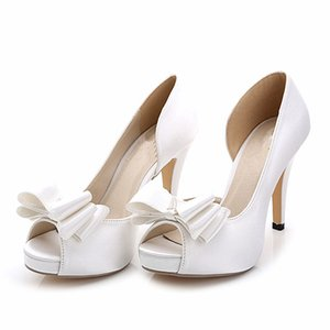 Wholesale New fashion silk satin white ivory bow Wedding Shoes open toe heels women Bridal shoes