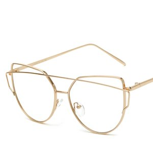 Wholesale Clear Flat Lens Sunglasses Clear Lens Gold Frame Alloy Women Glasses Personality Exaggerated Transparent Lady Sun Glasses With Case