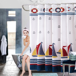 Summer Style Nautical Shower Curtain Sailing Boat Navy Blue Stripe Scenic Bath Curtains Waterproof Polyester Fabric Shower Curtain with Hook