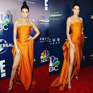 Sexy Kendall Jenner Celebrity Dresses High Side Split Strapless Ruffles Satin Floor Length 2019 Fashion Cheap Prom Gowns Evening Party Dress
