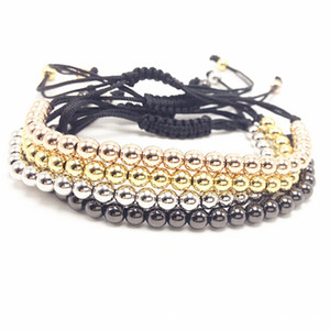 Wholesale Trendy Handmade Brand Men Bracelet Macrame Jewelry mm Copper Beads Braided Strand Woven Charm Bracelets Bangles for Men Women
