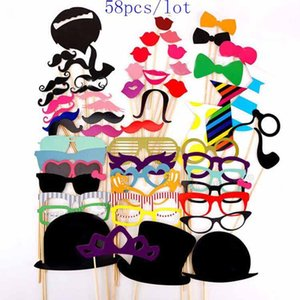 Wholesale 58 Photo Props Glasses Mustache Lip Hold Stick Wedding Party DIY Masks Fun Favor Gift Stick Party decoration