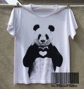 Wholesale Track Ship New T shirt Top Tee Cute Simple and Honest Panda Sending Heart to You