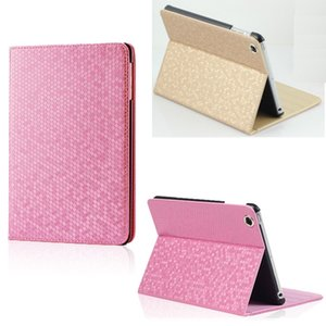 Wholesale Diamond grain PU leather book style pad cases for iPad Mini Ultra thin colours Stand Case inch iPad Pro Air Folding Cover