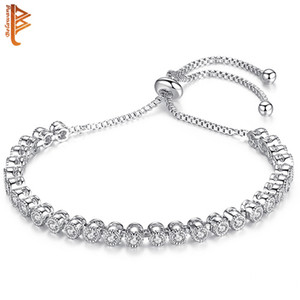 Wholesale BELAWANG Women Fashion Adjustable White Gold Charm Bracelet Cubic Zircon Round Stackable Bracelets Bangles Jewelry Christmas Gift