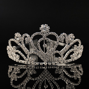 Wholesale Luxury Silver Heart Crystals Wedding Tiaras Beaded Bridal Crowns Rhinestone Head Pieces Headband Cheap Hair Accessories Pageant Tiara