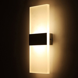 Wholesale Sconce Wall Lamp Square 85-265v 12w Led Light Foyer Corridor Balcony Aisle Wall Lamp White Warm White Wall lights with Black Silver Cover