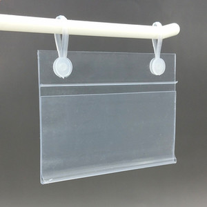 Various Sizes PVC Plastic Price Tag Sign Label Display Holder With 2 Buckles For Supermarket Shelf Stand Hook Rack 50pcs on Sale