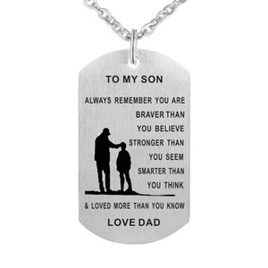 Wholesale Dad To My Son Always Remember You Are Braver Than You Believe Hand Stamped Necklace Keychain for Family Friend