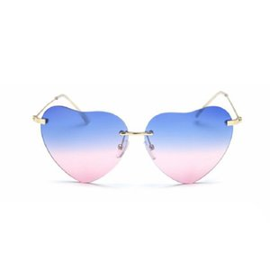 Wholesale Heart Shaped Sunglasses Women Red Ladies Metal Reflective Lenes Sun Glasses Men Mirror New Sunglasses For Women