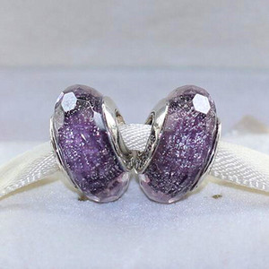 Wholesale 2pcs Sterling Silver Thread Lampwork Purple Shimmer Fascinating Murano Glass Loose Beads Fit European Pandora DIY Bracelet Necklace m06