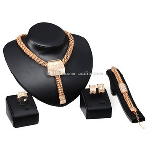 Wholesale Stylish Fashion Jewelry Set 4 PCS Alloy Necklace Ear Studs Bracelet Finger Ring Set Syeer C00587 FASH
