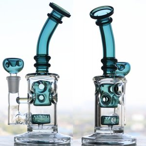 Wholesale Two function glass water pipes oil rigs double delicate appearance glass bong unique design glass bubbler thick fab egg smoking pipe