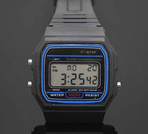 Led Digital Black plastic watches men's Sports Watch luminous F91W electronic WristWatch Ultra thin LED electronic watch