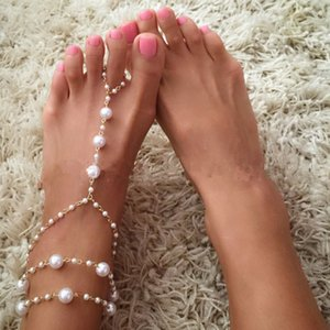 Wholesale Chain Footless Bridal Foot Beach Wedding Simulated Pearl Barefoot Sandal Anklet Women Jewelry Female Anklets
