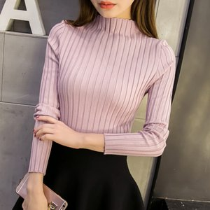 Wholesale New spring women ladies wide stripe slim fitting knitted turtleneck thin sweater top femme korean pullover casual clothes