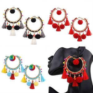 Wholesale Bohemia Plush Balls Tassel Hook Earrings Colorful Pompon Drop Ear Pendants Red Black Colorful Ethnic Big Earrings Jewelry B695L