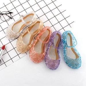 Wholesale New kids Shoes Girl Princess Shoes Blue Crystal Sandals Girls Cosplay Shoes Blue PVC Hole Snowflake Sandal kids