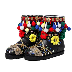 Fashion Show Style Winter Wool Snow Boots Colorful Fur Ball Bud Silk Ribbon Boots 3D Flowers Handmake Shoes Warm For Female