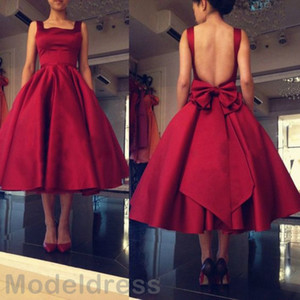 2017 New Backless Short Prom Dresses Spaghetti A Line Tea Length Burgundy Formal Special Occasion Dress Party Evening Gowns Cheap Custom on Sale