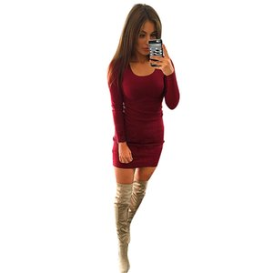 Wholesale Bodycon Sheath Dress Ladies Long Sleeve Party Dresses Women Clothing Robe Sexy Femme Pencil Tight Slim Mini Dress Plus Size