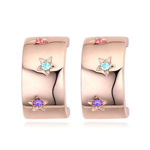 Wholesale stars jewelry for sale - Group buy High Quality Unique Designer Luxury Noble Import Austrian Crystal Real Gold Fashion Jewelry Accessories Stars Shine Stud Earrings For Women