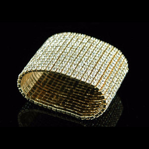Wholesale New Arrival Gorgeous Rows Bling Rhinestone Stretch Bangle Bracelet Wedding Bridal Wristband Hot Sale Jewelry Accessories for Women