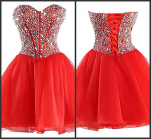 Red Dress Cheap Party Gown Short Mini Wear Crystals Beading Lace Up Back Sequin Dress Sleeveless Sweetheart Neck Custom Sweet 15 Dresses on Sale