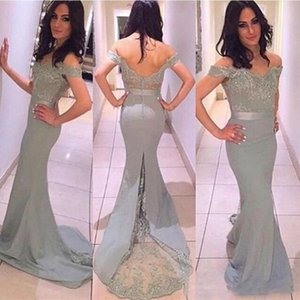 Wholesale Elegant Gray Long Bridesmaid Dresses For Wedding Sexy Off Shoulder Mermaid Maid Of Honor Gowns Back Covered Buttons Formal Party Dress