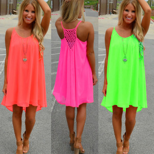 Wholesale New Fashion Sexy Casual Dresses Women Summer Sleeveless Evening Party Beach Dress Short Chiffon Mini Dress BOHO Womens Clothing Apparel