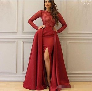 Wholesale 2019 Arabic Dubai Burgundy Prom Evening Dresses Beaded Grid Embroidery Bodice Crew Neckline Split Satin Party Celebrity Gown With Overskirt