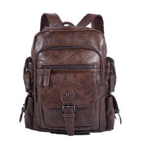 Cool Men Backpacks Man Rucksack 14 Inch Laptop Student Schoolbags Boys Travel PU Leather Backpack Bags Teens Retro sports School bag