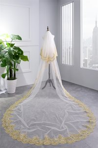 Wholesale Gold Lace Appliques Dubai Wedding Veil Middle East Luxury Bridal Veil Real Picture Fashion Long Veil Bridal accessories