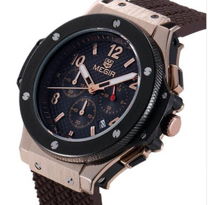 Sport Quartz Clock Mens Watches Top Brand Luxury Chronograph Quartz-watch Silicone Gold Male Wristwatch Relogio Masculino