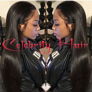 Long straight natural looking hair glueless lace front wi& full hair lace wig for african americans woman12-26inch heat resistant