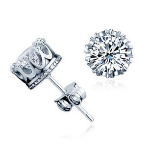 Wholesale 925 Sterling silver Cubic Zirconia Crown Wedding Stud Earrings Simulated Diamonds Engagement Beautiful Crystal Ear Rings For Man Women