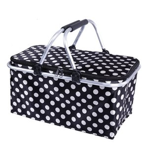 Picnic Baskets Folding Outdoor Camping Cooler Insulated 600D Oxford Aluminum Frame Handles Foldable Shopping Basket LZ0484