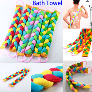 Wholesale New Style Bath Towel Women Men Twist Long Rainbow Color Massage Back Pull Back Rub Mud Scrubs Body Bath Towel WX T02