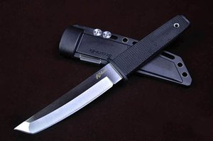 Clone Cold Steel 17T KOBUN Tanto Point Blade Knife Rubber Handle Hiking Survival Straight Knife With ABS K Sheath