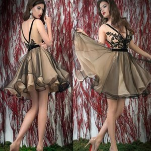 Black With Champagne Tulle Short Prom Party Dresses New Arrive Sexy V-neck Evening Party Prom Dress Back to School Homecoming Dresses on Sale