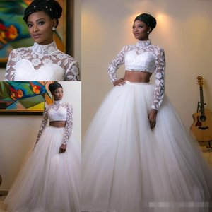 Wholesale Two Pieces African Long Sleeves Bridals Dresses High Neck Wedding Dresses With Applique White Back Zipper Tulle Custom Made Wedding Gowns
