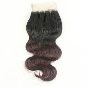 4x4 Human Hair Two Tone Closure #1b 99j Brazilian Hair Body Wave Unprocessed Brazilian Hair Ombre Lace Closure
